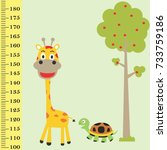 meter wall with funny animals | Shutterstock .eps vector #733759186