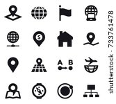 16 vector icon set   pointer ... | Shutterstock .eps vector #733761478