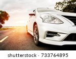carblonde traveling in nature... | Shutterstock . vector #733764895