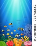 colorful coral reef with fish... | Shutterstock . vector #733766662