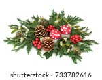 christmas table decoration with ... | Shutterstock . vector #733782616
