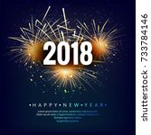 happy new year 2018 colorful... | Shutterstock .eps vector #733784146