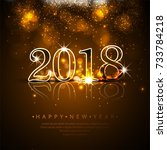 happy new year 2018 background | Shutterstock .eps vector #733784218
