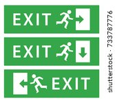 exit sign board vector... | Shutterstock .eps vector #733787776