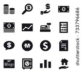 16 vector icon set   coin stack ... | Shutterstock .eps vector #733796686