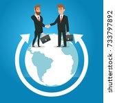 businessmen shaking hands at... | Shutterstock .eps vector #733797892