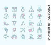 linear set of wedding icons | Shutterstock .eps vector #733800526