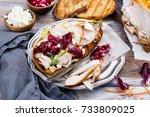 homemade leftover thanksgiving...   Shutterstock . vector #733809025
