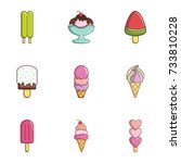 ice cream icons set. flat set... | Shutterstock . vector #733810228
