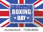 boxing day rubber stamp with uk ... | Shutterstock .eps vector #733818082
