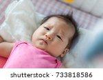 asian 3 months baby girl... | Shutterstock . vector #733818586