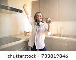 girl enjoying her time at home  ... | Shutterstock . vector #733819846