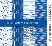 blue vector seamless patterns. ... | Shutterstock .eps vector #733822762