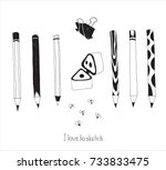 hand drawn stationery and art... | Shutterstock .eps vector #733833475