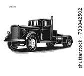 vintage american truck vector...   Shutterstock .eps vector #733842502