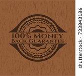 100  money back guarantee wood... | Shutterstock .eps vector #733843186