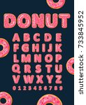 font of donuts. bakery sweet... | Shutterstock .eps vector #733845952