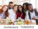 leisure  food and people... | Shutterstock . vector #733850932