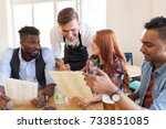 service and people concept  ... | Shutterstock . vector #733851085