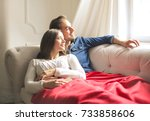 sweet couple chilling on the... | Shutterstock . vector #733858606