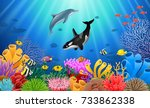 cartoon dolphin with killer... | Shutterstock .eps vector #733862338