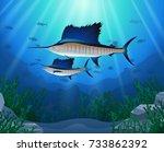 sailfish swimming under water... | Shutterstock .eps vector #733862392