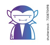 line boy vampire with teeth and ... | Shutterstock .eps vector #733870498