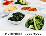 fresh aegean herbs and turkish... | Shutterstock . vector #733875016