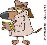cartoon dog dressed up like a... | Shutterstock .eps vector #733885756