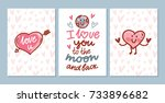 set of cute love hand drawn... | Shutterstock .eps vector #733896682