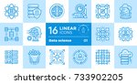 linear icon set of data science ... | Shutterstock .eps vector #733902205