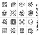 linear icon set of data science ... | Shutterstock .eps vector #733902232