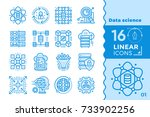 linear icon set of data science ... | Shutterstock .eps vector #733902256