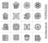 linear icon set of data science ... | Shutterstock .eps vector #733902262
