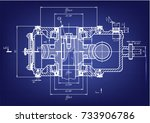 white drawing on a blue... | Shutterstock .eps vector #733906786