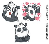 Stock vector set of cute cartoon hand drawn doodle panda character adorable cunning sending love and kisses 733913548