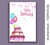 happy birthday card | Shutterstock .eps vector #733923136