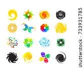 logo set. abstract spa health...   Shutterstock .eps vector #733931785