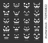 halloween face icon set.... | Shutterstock .eps vector #733933822