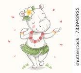 Cute Baby Hippo Hawaiian Hula...
