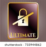 gold shiny emblem with... | Shutterstock .eps vector #733944862