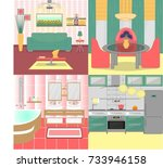 set of colorful vector interior ... | Shutterstock .eps vector #733946158