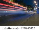 lighting trails from traffic on ... | Shutterstock . vector #733946812