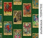 seamless background with tarot... | Shutterstock . vector #733947532
