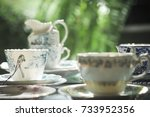 group of antique coffee cup in... | Shutterstock . vector #733952356