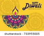 diwali festival greeting card... | Shutterstock .eps vector #733955005