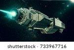 spaceship in deep space ... | Shutterstock . vector #733967716