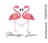 flamingos tropical bird vector... | Shutterstock .eps vector #733999735