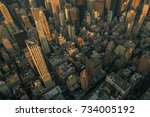 aerial shot of downtown new... | Shutterstock . vector #734005192