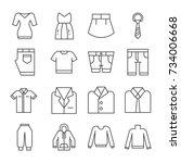 set icon clothes vector...   Shutterstock .eps vector #734006668